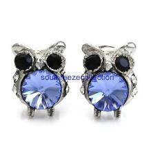 Blue Owl Bird Stud Post Earring Charm Fashion Jewelry Gift for Girl Women Mom r1