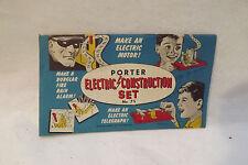 Vintage PORTER Electric Construction Set Kit 75 Workshop Instruction Manual 1956