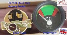 Vintage Geep CAR Tractor Gauge Clock 24V Volt BATTERY VOLTMETER BLACK DIAL-M617B