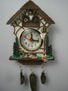 Schwarzwald Clock Black Forrest, Mini 6 11/16in With Spigot, Alarm, New
