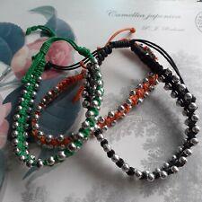 Power Bracelets- Corded -Silver Beads- Black-Green-Orange -Handmade -  New