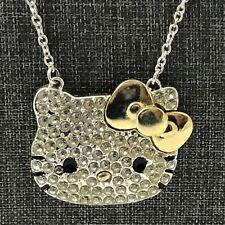 Sanrio Hello Kitty Silver & Gold Tone Necklace HK Face White Rhinestones
