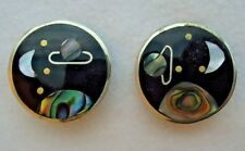 Vintage Alpaca Mexico Abalone Clip On Earrings Solar System Inlayed Design