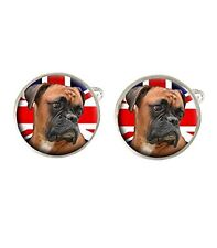Boxer Dog Union Jack Mens Cufflinks Ideal Wedding Birthday Fathers Day Gift C378