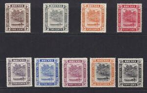 Brunei x 9 1908  U/M   1c to 50c.