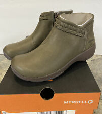 Merrell Women Sz 5M Boots Shoes Encore Braided Bluff Q2 Leather Zipper Mid Green