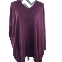 Cashmeren Womens Medium Purple Loose V Neck Pullover Sweater Wool Cashmere Blend