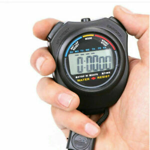 Digital Handheld Stopwatch Sports Stop Watch Timer Alarm Counter UK Seller
