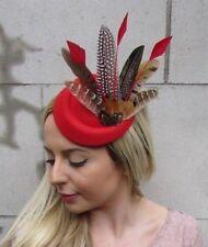 Or Rouge Noir Léopard Imprimé Animal Petit pilulier Chapeau Fascinator Pince à cheveux 6523