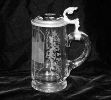Antique German STEIN Beer Mug Etched Wartburg Castle Pewter Bavaria