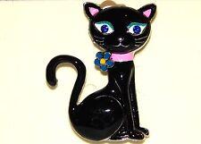 NWT WOMEN'S SILVER & BLACK CAT BROOCH/PIN WITH BLUE RHINESTONE EYES, PINK COLLAR