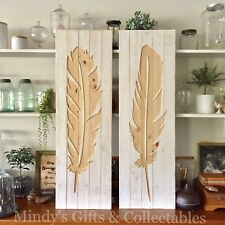 Set of 2 1.14 mt Tall Rustic Wood Carved Feather Wall Art Garden Hanging Boho