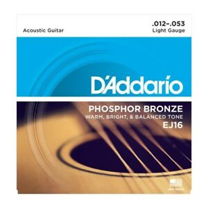 D'addario EJ16 Phosphor Bronze Acoustic Guitar Strings 12-53, Light