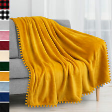 Pom Pom Throw Blanket Pom Fringe Tassel Soft Microfiber Fleece for Sofa Couch