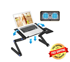 Laptop Stand Desk Adjustable Cooling Table 2 Fans Bed Foldable Notebook Portable