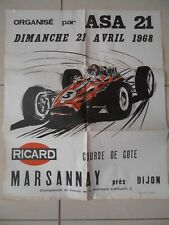SUPERBE AFFICHE COURSE DE COTE - RALLYE MARSANNAY 1968 DIJON ( ref 42 )