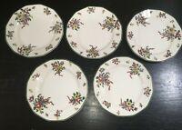 "(5) Royal Doulton OLD LEEDS SPRAY 7 3/8"" Salad Plates  *****"
