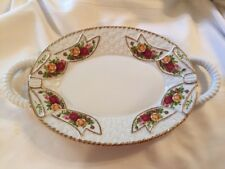 Royal Albert Old Country Roses Basket Weave Oval Tray Platter w/Handles