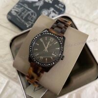 NWT 🍂 Fossil ES4638 Scarlette Mini Crystals Date Tortoise Black Brown Watch