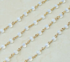 Clear Opal AB Glass Faceted Rondelle Bead Rosary Chain - Shiny Gold Plated Wire