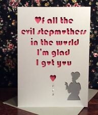 Mothers Day Card Evil Stepmother Handmade Papercut Funny Joke Personalised