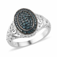 925 Sterling Silver Platinum Rhodium Over Blue Diamond Ring Ct 0.35 I3 Clarity