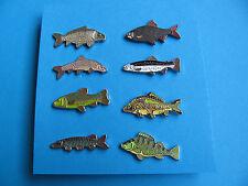Set of 8, Different Fish pin badges, Enamel. Coarse Fishing interest.