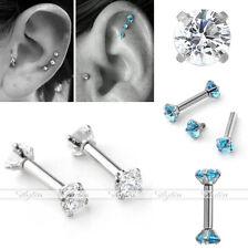 2x 16G CZ Gem Steel Labret Lip Rings Ear Tragus Cartilage Earrings Stud Piercing