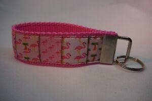 Handgefertigtes Schlüsselband Flamingo Party ca. 10 cm