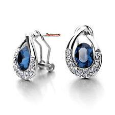 Blue Sapphire Made with Swarovski Crystal Teardrop Bridal Stud Earring XE50