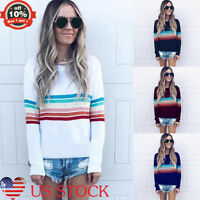 Women Rainbow Striped Contrast Tops Long Sleeved Knitwear Sweater Blouses Casual