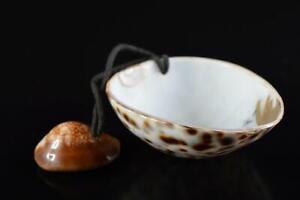 #9860: Japanese Shell Landscape pattern NETSUKE Inro, Hang items kimono sash