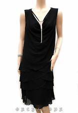 Robe ART T 48 à 50 XXL Noir 3 volants étage bijou argenté Soirée Fête NEUF Dress