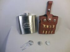 MICHAEL COLLINS IRISH WHISKEY 9 PIECE STAINLESS STEEL FLASK & LEATHER GOLF KIT