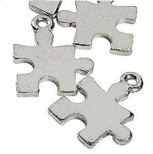 Autism Awareness Charms Puzzle Piece Silver Tone 17mm Aspergers Lot of 10