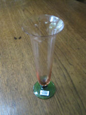 "VINTAGE ARTSY BOHEMIAN CRYSTAL WATERMELON GLASS STYLE, 3 COLOR FLUTED 8"" VASE!!!"