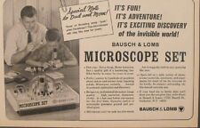 1965 Microscope Sets Science Kids Bausch & Lomb Kids Vintage Toy Promo Print Ad