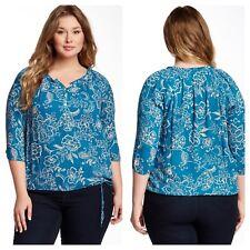894e0f929 Lucky marca 1X Azul Floral Top Camisa Blusa campesina avalynn jardines  Blanco