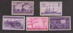 US. 922-926. 3c. 1944 Commemorative Stamps Full Set of 5. MNH