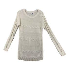 Old Navy Sweater Long White Loose Knit Long Sleeve Womens Medium