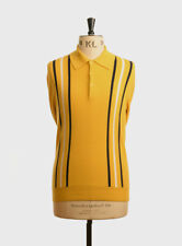Art Gallery Clothing - Knitted Polo - MUSTARD XL Mod Sixties
