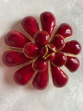LARGE CHANEL RED GRIPOIX GLASS CAMELLIA FLOWER BROOCH/PIN