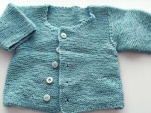 Girl kids Baby handmade blue super cute knit knitwear sweater Cardigan jumper