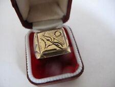 Mens 18k 18ct GOLD PLATED 750 Signet RING Jewellery Size Usa 10 - Uk U  - 19.4g