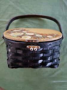Vintage black woven basket purse w/handle hand painted signed Hinged Lid 1960's