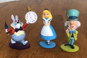 Disney Alice Wonderland PVC Figure Cake Topper 3pc Alice White Rabbit Mad Hatter