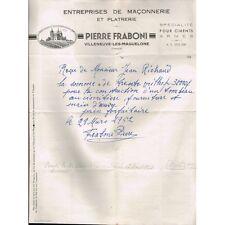 FACTURE Pierre FRABONI 34 Villeneuve les MAGUELONE à M Jean RICHAUD 28 mars 1952