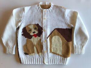 Sweater Toddler Boy Girl 4-5T VTG Handmade Knitted Yarn Chest 14.5 Button Puppy