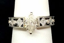 Estate Natural 1ctw DIAMOND Engagement Ring 14k Solid Gold