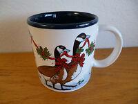 "Potpourri Press Geese Goose Mug w/ Holiday Greenry  & Bows   3 3/8"""